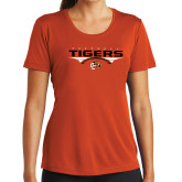 Ladies Syntrel Performance Orange Tee-Football Design