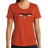 Ladies Performance Orange Tee-Football Design