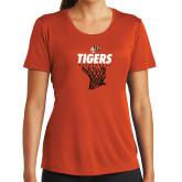 Ladies Performance Orange Tee-Basketball Design