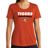 Ladies Syntrel Performance Orange Tee-Volleyball Design