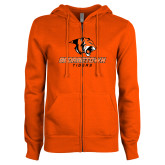 ENZA Ladies Orange Fleece Full Zip Hoodie-Stacked Georgetown Mark