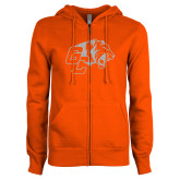 ENZA Ladies Orange Fleece Full Zip Hoodie-Official Logo White Soft Glitter