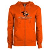 ENZA Ladies Orange Fleece Full Zip Hoodie-Archery