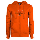 ENZA Ladies Orange Fleece Full Zip Hoodie-Volleyball Design