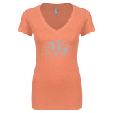 Next Level Ladies Vintage Light Orange Tri Blend V-Neck Tee-Official Logo White Soft Glitter