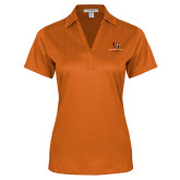 Ladies Orange Performance Fine Jacquard Polo-Stacked Georgetown Mark