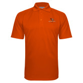 Orange Textured Saddle Shoulder Polo-Stacked Georgetown Mark