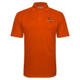 Orange Textured Saddle Shoulder Polo-Stacked Georgetown Mark