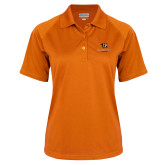 Ladies Orange Textured Saddle Shoulder Polo-Stacked Georgetown Mark