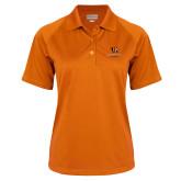 Ladies Orange Textured Saddle Shoulder Polo-Stacked Georgetown Mark