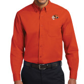 Orange Twill Button Down Long Sleeve-Official Logo