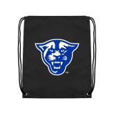 Nylon Black Drawstring Backpack-Panther Head