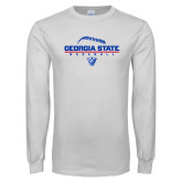 White Long Sleeve T Shirt-Georgia State Baseball Stacked