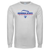 White Long Sleeve T Shirt-Georgia State Baseball Stacked