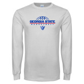 White Long Sleeve T Shirt-Georgia State Basketball Stacked