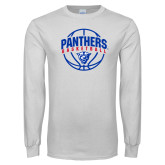 White Long Sleeve T Shirt-Panthers Basketball Arched w/ Ball
