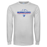 White Long Sleeve T Shirt-Georgia State Volleyball Stacked