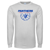 White Long Sleeve T Shirt-Panthers Volleyball w/ Ball