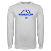 White Long Sleeve T Shirt-Georgia State Soccer Stacked