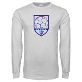 White Long Sleeve T Shirt-Soccer Shield w/ Panther Head