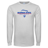 White Long Sleeve T Shirt-Georgia State Softball Stacked
