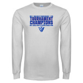 White Long Sleeve T Shirt-Sun Belt Mens Tournament Champions
