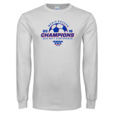 White Long Sleeve T Shirt-2018 Georgia State Mens Soccer Champions