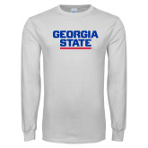 White Long Sleeve T Shirt-Georgia State Wordmark