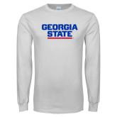 White Long Sleeve T Shirt-Georgia State Wordmark