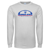 White Long Sleeve T Shirt-Georgia State Football Flat