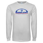 White Long Sleeve T Shirt-Georgia State Football Flat