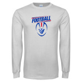 White Long Sleeve T Shirt-Panther Head w/ Football