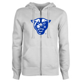 ENZA Ladies White Fleece Full Zip Hoodie-Panther Head