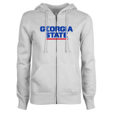 ENZA Ladies White Fleece Full Zip Hoodie-Georgia State Wordmark