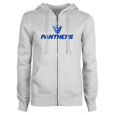 ENZA Ladies White Fleece Full Zip Hoodie-Panthers w/ Panther Head