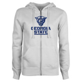 ENZA Ladies White Fleece Full Zip Hoodie-Official Logo Dark Blue Glitter