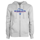 ENZA Ladies White Fleece Full Zip Hoodie-Georgia State Softball Stacked