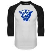 White/Black Raglan Baseball T-Shirt-Panther Head