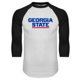 White/Black Raglan Baseball T-Shirt-Georgia State Wordmark