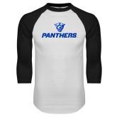 White/Black Raglan Baseball T-Shirt-Panthers w/ Panther Head
