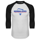 White/Black Raglan Baseball T-Shirt-Georgia State Baseball Stacked