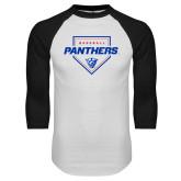 White/Black Raglan Baseball T-Shirt-Panthers Baseball w/ Plate