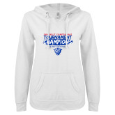 ENZA Ladies White V Notch Raw Edge Fleece Hoodie-2018 Tournament Champions