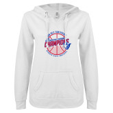 ENZA Ladies White V Notch Raw Edge Fleece Hoodie-Sun Belt Mens Basketball Champions