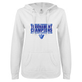 ENZA Ladies White V Notch Raw Edge Fleece Hoodie-Sun Belt Mens Tournament Champions
