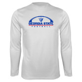 Performance White Longsleeve Shirt-Georgia State Football Flat