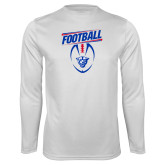 Performance White Longsleeve Shirt-Panther Head w/ Football