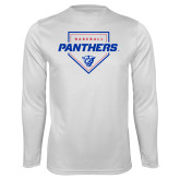 Performance White Longsleeve Shirt-Panthers Baseball w/ Plate