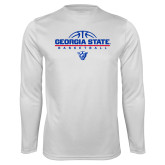 Performance White Longsleeve Shirt-Georgia State Basketball Stacked