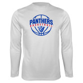 Performance White Longsleeve Shirt-Panthers Basketball Arched w/ Ball